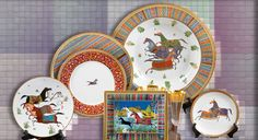 Vaisselle Hermès Cheval d'Orient Creation Deco, Orient, Decoration, Tablescapes, Decorative Plates, Creations, Pottery, Tableware, Ideas