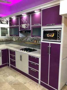 Kitchen Cupboard Designs, Kitchen Room Design, Home Decor Kitchen, Interior Design Kitchen, Purple Kitchen Cabinets, Indian Room Decor, Funky Kitchen, Kitchen Modular, Modern Kitchen Interiors