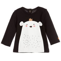 Catimini black cotton unisex t-shirt, made with a soft cotton jersey. This cute long-sleeved t-shirt has a round neckline, a split back with popper fastening to help with dressing. The front has a hand puppet-like pouch with a polar bear print wearing a crown on one side, the reversed side reveals a penguin wearing a scarf. It has a unique feature that allows the whole t-shirt to be folded and tucked into the pouch. The designer's iconic logo features on one sleeve. 100% cotton, by Catimini