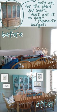 craigslist china cabinet before and after, love painted furniture! faded aqua - turquoise - weathered blue - sea glass