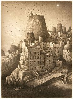 """Shaun Tan """"The place of nests"""" signed print"""