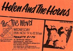 'Helen And The Horns' at The Richmond, opp. St Peters Church, Brighton: Poster from 1984