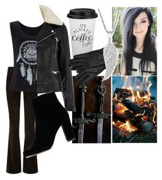 """""""Thalia and Charlie Weasley"""" by raindanger-coffee ❤ liked on Polyvore featuring Alice + Olivia, Warehouse, leatherjacket, fauxfur, bootcut, aesthetic and killerlooks"""