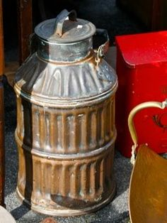 Big galvanized love for this old galvanized milk pail.
