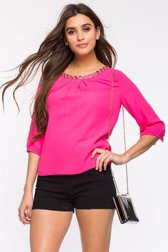 Блуза Размеры: S, M, L Цвет: фуксия, розовый, белый Цена: 1353 руб.     #одежда #женщинам #блузы #коопт