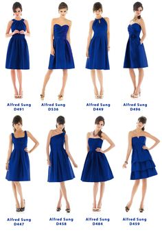 A collection I put together of some short dresses by Alfred Sung, in cobalt blue. Found them on weddingtonway.com