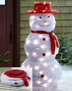 Pop-Up Snowman - Add some wintertime whimsy to your front yard display with the Pop-Up Snowman. This holly, jolly fellow arrives in one piece and sets up in minutes.  Link    #Christmas