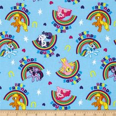 Hasbro My Little Pony Best Friends Blue from @fabricdotcom  Designed by Hasbro and licensed to Springs Creative Products, this cotton print is perfect for quilting, apparel and home decor accents. Colors include black, yellow, white, shades of blue, shades of purple, shades of pink, and shades of orange. Due to licensing restrictions, this item can only be shipped to USA, Puerto Rico, and Canada.