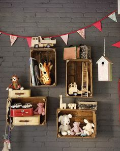 Apple crate box shelves, love everything in this image!!