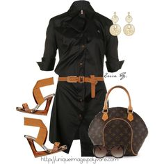 Classic Black Shirt Dress with caramel accessories