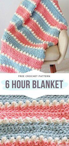 How to Crochet 6 Hour Blanket - 6 Hour Blanket Free Crochet Pattern Are you fa. - How to Crochet 6 Hour Blanket – 6 Hour Blanket Free Crochet Pattern Are you familiar with this Stitch Crochet, Free Crochet, Knit Crochet, Chunky Crochet, Booties Crochet, Easy Knitting Projects, Crochet Projects, Sewing Projects, Crochet Ideas