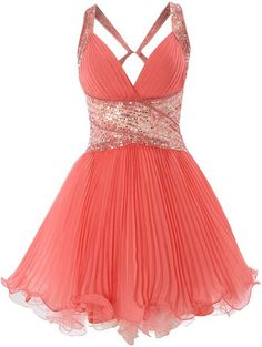 Forever Unique Coral Chandra Embellished Pleat Prom Dress