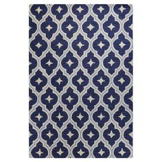 An artful anchor for a vibrant space or touch of texture in a neutral room, this hand-tufted wool rug showcases a chic quatrefoil ogee motif in navy.