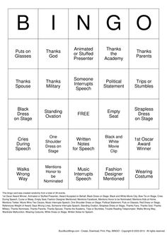 Download Oscars Bingo Cards. If I have another Oscar party, we're doing this.