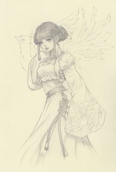 ✮ ANIME ART ✮ anime girl. . .realism. . .hair buns. . .braids. . .long skirt. . .bolero. . .embroidery. . .bird. . .drawing. . .graphite. . .pencil. . .sketch. . .kawaii
