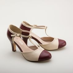 Step into the past with these fancy flapper shoes! The Galaxy Two-Tone T-Straps in rich burgundy and beige are just the style to lend a little Jazz Age flair to your wardrobe. Whether you dress with a dash of retro style or are looking for beautiful shoes to wear with your modern outfits, the Galaxy