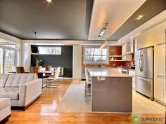 Stick to white and wood in kitchen and use dark accent colour in dining area instead? Small Space Kitchen, Small Spaces, Walnut Dining Chairs, Cuisines Design, Black Walls, Open Plan Living, Interior Design Kitchen, Dining Area, Room Layouts