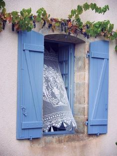 Light breeze through the window . - All About Balcony Window Shutters, Window Boxes, Blue Shutters, Old Windows, Windows And Doors, Window View, Window Dressings, Through The Window, Doorway