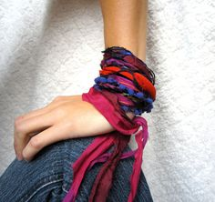 multi fabric bracelet from etsy.com, Try this look with out Silk Ribbons! http://www.ninadesigns.com/menu/silk_cords_and_ribbons/