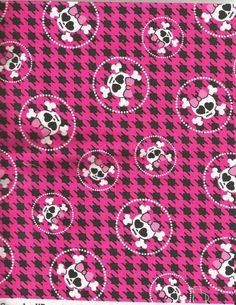 Girl Skulls and crossbones sewing fabric Goth Punk bows Geometric plaid cotton #Richloom