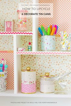 How to recycle tin cans - decorative tin can storage on pretty shelves - click through for DIY