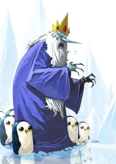 Adventure Time- Ice King and the penguins; this edgy style fits perfectly Cartoon Network, Marceline, Illustrations Techniques, Adveture Time, Time Cartoon, Finn The Human, Jake The Dogs, Fanart, Bubbline
