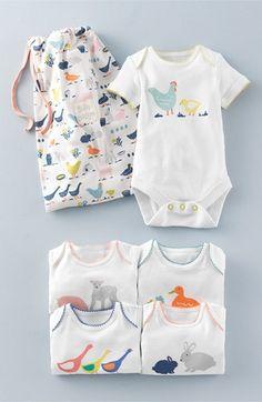Mini Boden 'Farm Logo' Graphic Bodysuits (5-Pack) (Baby Girls)