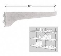 """CRL KV Gray 180 Series 10"""" Heavy-Duty Steel Bracket by CR Laurence by CR Laurence. $3.45. Color: Gray Width: 10 in (254 mm) High Quality, High Strength Steel Components for Decorative or Utility Uses Special Friction Grip Insures Perfect Alignment for Shelves Ideal for Use on Walls, Retail Displays, and Showcases Several Finishes Available These American made shelf brackets and standards have been the choice of the glazing, hardware and decorating industries for ..."""