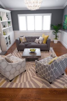 Gray walls & Gray Couch. Like the different patterns within the gray scheme.