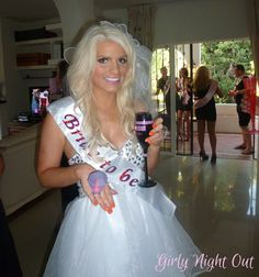 Hen Party Ideas - Marbella Hen Night. Bride to Be Chloe looks FAB with our sash, wedding veil and flashing ring! xx