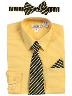 64e2f4b7057c Boys Formal Occasion 105520  Boys Dress Shirt Long Sleeve Solid With Striped  Tie Set Formal