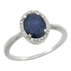 Sterling Silver Natural Blue Sapphire Diamond Halo Ring Oval 8X6mm, 1/2 inch wide, size 6