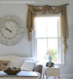 Burlap curtain swags via Town and Country Living