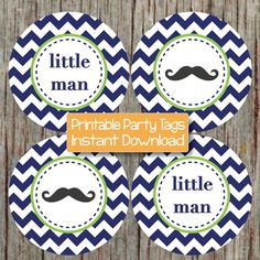 Little Man Cupcake Toppers Baby Shower Mustache Navy Blue Lime Green Chevron by BumpAndBeyondDesigns, $4.00