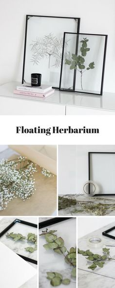 DIY: Floating Frame Herbarium - this is how you create the floating frame!- DIY: Floating Frame Herbarium – so bastelt ihr den schwebenden Rahmen! Floating Frame Herbarium // Botanic for the living room - Diy Home Decor Living Room, Farmhouse Side Table, Farmhouse Decor, Farmhouse Design, Floating Frame, Floating Plants, Floating Nightstand, Easy Diy Crafts, Decor Crafts