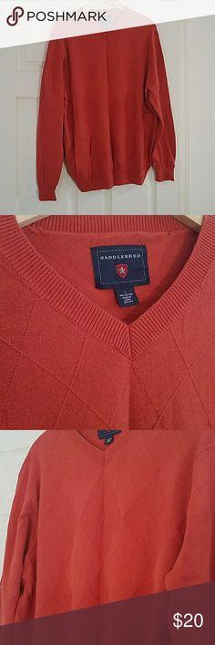 Large v-neck sweater Seldomly used Orange V-neck sweater. 100% cotton. Made by saddlebred. Argyle diamond pattern Saddlebred Sweaters V-Neck
