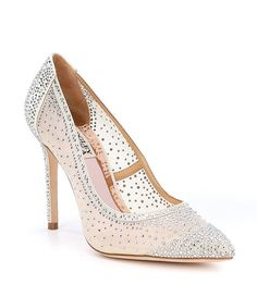 224e1eabe7f Badgley Mischka Weslee Satin and Mesh Rhinestone Detail Dress Pumps Bridal  Wedding Shoes