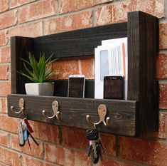 Rustic Entryway Coat Rack Mail Organizer