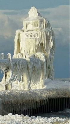 Ice covered lighthouse Michigan City, IN