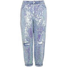 TOPSHOP MOTO Sequin Boyfriend Jeans (€94) ❤ liked on Polyvore featuring jeans, pants, bottoms, topshop, trousers, bleach stone, bleached jeans, ripped blue jeans, ripped boyfriend jeans and boyfriend jeans
