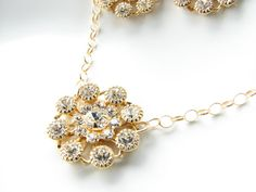 Gold Swarovski crystal necklace bridal by JanuaryGirlJewelry, $26.00