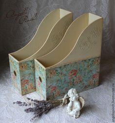"""Купить Журнальницы """"В окружении роз"""" - журнальница, журнальница декупаж, для документов, для хранения, для бумаг"""