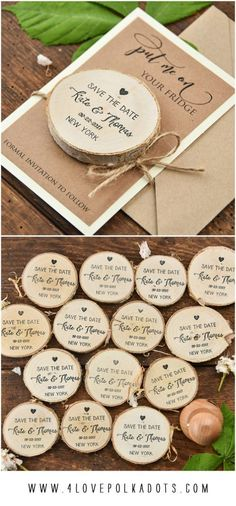Save the Date with wooden magnet – personalized with your details! 4lovepolkadots #savethedates