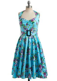 Enchanted Afternoon Dress - Blue, Yellow, Green, Purple, Floral, Buckles, Casual, Vintage Inspired, 50s, A-line, Halter, Spring, Summer, Sho...
