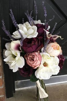Dark Plum Bouquet by BloomingBouquet on Etsy