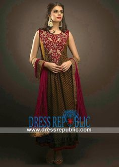 Harvest Gold Wine Long Dress With Round Neckline And Crinkle Chiffon Dupatta
