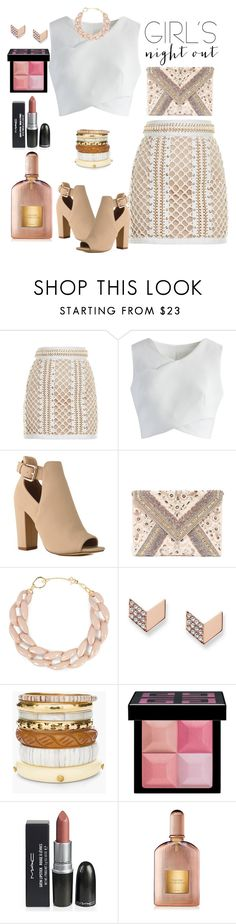 """Untitled #315"" by stelladallas6369 ❤ liked on Polyvore featuring Balmain, Chicwish, LULUS, DIANA BROUSSARD, FOSSIL, Chico's, Givenchy, Tom Ford and girlsnightout"