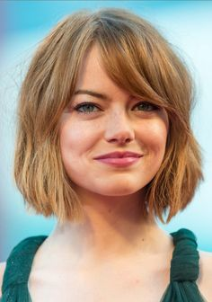 Emma Stone Short Hairstyle - Short Bob Haircuts for Bangs---like the way the bangs are. Longer length though
