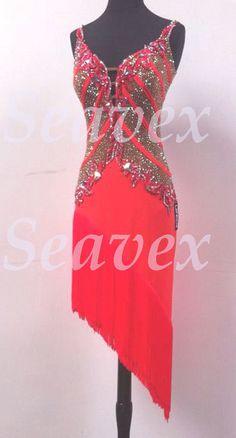 55d823145200 K3815 Red hot Women ballroom chacha swing latin samba dance dress Tailor  made | eBay