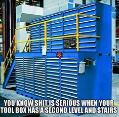 Forklift-Portable Tool Box with Stairs and Platform - The Garage Journal Board Garage Organization, Garage Storage, Tool Storage, Locker Storage, Organization Ideas, Storage Racks, Organizing, Garage Tools, Garage Shop